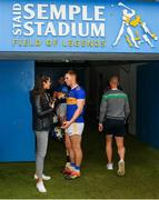 16 June 2019; Jason Forde of Tipperary is interviewed by Lauren Guilfoyle for RTE after the Munster GAA Hurling Senior Championship Round 5 match between Tipperary and Limerick in Semple Stadium in Thurles, Co. Tipperary. Photo by Diarmuid Greene/Sportsfile