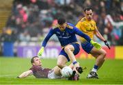 16 June 2019; Liam Silke of Galway in action against Darren O'Malley and Niall Kilroy of Roscommon during the Connacht GAA Football Senior Championship Final match between Galway and Roscommon at Pearse Stadium in Galway. Photo by Ramsey Cardy/Sportsfile