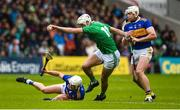 16 June 2019; Kyle Hayes of Limerick in action against Sean O'Brien and Padraic Maher of Tipperary during the Munster GAA Hurling Senior Championship Round 5 match between Tipperary and Limerick in Semple Stadium in Thurles, Co. Tipperary. Photo by Diarmuid Greene/Sportsfile