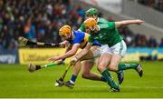 16 June 2019; Ronan Maher of Tipperary in action against Seamus Flanagan and Shane Dowling of Limerick during the Munster GAA Hurling Senior Championship Round 5 match between Tipperary and Limerick in Semple Stadium in Thurles, Co. Tipperary. Photo by Diarmuid Greene/Sportsfile