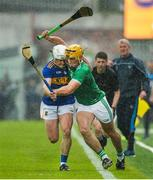 16 June 2019; Tom Morrissey of Limerick in action against Sean O'Brien of Tipperary during the Munster GAA Hurling Senior Championship Round 5 match between Tipperary and Limerick in Semple Stadium in Thurles, Co. Tipperary. Photo by Diarmuid Greene/Sportsfile
