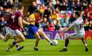 16 June 2019; Diarmuid Murtagh of Roscommon shoots to score his side's first goal of the game past Galway goalkeeper Ruarí Lavelle during the Connacht GAA Football Senior Championship Final match between Galway and Roscommon at Pearse Stadium in Galway. Photo by Ramsey Cardy/Sportsfile
