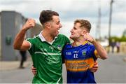 16 June 2019; Limerick supporter Conor Byrnes from Murroe-Boher, Co. Limerick, and Tipperary supporter Daniel Carew from Newport, Co. Tipperary prior to the Munster GAA Hurling Senior Championship Round 5 match between Tipperary and Limerick in Semple Stadium in Thurles, Co. Tipperary. Photo by Diarmuid Greene/Sportsfile
