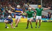 16 June 2019; Kyle Hayes of Limerick in action against Padraic Maher of Tipperary during the Munster GAA Hurling Senior Championship Round 5 match between Tipperary and Limerick in Semple Stadium in Thurles, Co. Tipperary. Photo by Diarmuid Greene/Sportsfile