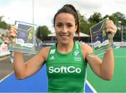 16 June 2019; Anna O'Flanagan of Ireland after winning top scorer and best player of the tournament after the FIH World Hockey Series Final match between Ireland and Korea at Banbridge Hockey Club in Banbridge, Down.  Photo by Oliver McVeigh/Sportsfile