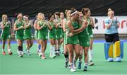 16 June 2019; Elena Tice and Zoe Wilson of Ireland lead the team around after defeat following the FIH World Hockey Series Final match between Ireland and Korea at Banbridge Hockey Club in Banbridge, Down.  Photo by Oliver McVeigh/Sportsfile