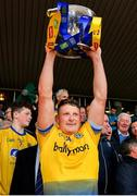 16 June 2019; Conor Cox of Roscommon lifts the trophy following his side's victory during the Connacht GAA Football Senior Championship Final match between Galway and Roscommon at Pearse Stadium in Galway. Photo by Seb Daly/Sportsfile