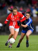 16 June 2019; Aishling Hutchings of Cork in action against Kellyann Hogan of Waterford during the TG4 Ladies Football Munster Senior Football Championship Final match between Cork and Waterford at Fraher Field in Dungarvan, Co. Waterford. Photo by Harry Murphy/Sportsfile