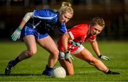 16 June 2019; Máiréad Wall of Waterford in action against Libby Coppinger of Cork during the TG4 Ladies Football Munster Senior Football Championship Final match between Cork and Waterford at Fraher Field in Dungarvan, Co. Waterford. Photo by Harry Murphy/Sportsfile
