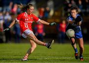 16 June 2019; Daire Kiely of Cork in action against Karen McGrath of Waterford during the TG4 Ladies Football Munster Senior Football Championship Final match between Cork and Waterford at Fraher Field in Dungarvan, Co. Waterford. Photo by Harry Murphy/Sportsfile