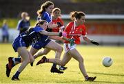 16 June 2019; Mellisa Duggan of Cork in action against Aileen Wall of Waterford during the TG4 Ladies Football Munster Senior Football Championship Final match between Cork and Waterford at Fraher Field in Dungarvan, Co. Waterford. Photo by Harry Murphy/Sportsfile