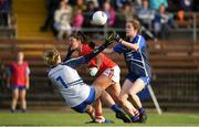 16 June 2019; Ciara O'Sullivan of Cork in action against Karen McGrath and Rosie Landers of Waterford during the TG4 Ladies Football Munster Senior Football Championship Final match between Cork and Waterford at Fraher Field in Dungarvan, Co. Waterford. Photo by Harry Murphy/Sportsfile