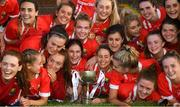 16 June 2019; Cork players celebrate with the trophy following the TG4 Ladies Football Munster Senior Football Championship Final match between Cork and Waterford at Fraher Field in Dungarvan, Co. Waterford. Photo by Harry Murphy/Sportsfile