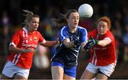 16 June 2019; Caoimhe McGrath of Waterford in action against Saoirse Noonan and Niamh Cotter of Cork during the TG4 Ladies Football Munster Senior Football Championship Final match between Cork and Waterford at Fraher Field in Dungarvan, Co. Waterford. Photo by Harry Murphy/Sportsfile