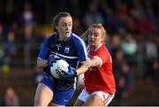 16 June 2019; Caoimhe McGrath of Waterford in action against Saoirse Noonan of Cork during the TG4 Ladies Football Munster Senior Football Championship Final match between Cork and Waterford at Fraher Field in Dungarvan, Co. Waterford. Photo by Harry Murphy/Sportsfile
