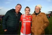 16 June 2019; Saoirse Noonan of Cork poses for a picture with her father, Peter Noonan and grandfather Noel O'Callaghan following the TG4 Ladies Football Munster Senior Football Championship Final match between Cork and Waterford at Fraher Field in Dungarvan, Co. Waterford. Photo by Harry Murphy/Sportsfile