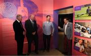 17 June 2019; Uachtarán Chumann Lúthcleas Gael John Horan, second from left, with from left, former RTÉ gaelic games commentator Michéal O Muircheartaigh, Oisin McConville, former Armagh player and RTÉ gaelic games panelist and RTÉ gaelic games correspondent Marty Morrissey at the opening of the new exhibition in the GAA Museum 'Tuning In – From Wireless to WiFi' at Croke Park in Dublin. Photo by Eóin Noonan/Sportsfile