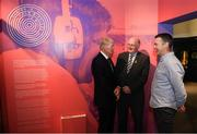17 June 2019; Uachtarán Chumann Lúthcleas Gael John Horan, centre, with former RTÉ gaelic games commentator Michéal O Muircheartaigh and Oisin McConville, former Armagh player and RTÉ gaelic games panelist at the opening of the new exhibition in the GAA Museum 'Tuning In – From Wireless to WiFi' at Croke Park in Dublin. Photo by Eóin Noonan/Sportsfile