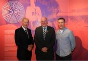 17 June 2019; Uachtarán Chumann Lúthcleas Gael John Horan, centre, with former RTÉ gaelic games commentator Michéal O Muircheartaigh and Oisin McConville, former Armagh player and RTÉ gaelic games panalist at the opening of the new exhibition in the GAA Museum 'Tuning In – From Wireless to WiFi' at Croke Park in Dublin. Photo by Eóin Noonan/Sportsfile