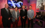 17 June 2019; Uachtarán Chumann Lúthcleas Gael John Horan, left, with from left, RTÉ gaelic games correspondent Marty Morrissey, former RTÉ gaelic games commentator Michéal O Muircheartaigh and Oisin McConville, former Armagh player and RTÉ gaelic games panalist at the opening of the new exhibition in the GAA Museum 'Tuning In – From Wireless to WiFi' at Croke Park in Dublin. Photo by Eóin Noonan/Sportsfile