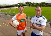 17 June 2019; Stephen Sheridan of Armagh and Vinny Corey of Monaghan during a media event to promote the Monaghan v Armagh GAA Football All Ireland Senior Championship Round 2 game  in St. Tiernach's Park in Clones, Co Monaghan. Photo by Oliver McVeigh/Sportsfile