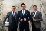 17 June 2019; Former GAA stars, from left, Tomas O'Se of Kerry, Sean Cavanagh of Tyrone and Senan Connell of Dublin were in Dublin today for the reveal and official launch of the Benetti Menswear GAA Ambassador campaign for 2019. Benetti are an Irish designed menswear clothing brand who supply a fully comprehensive collection in tailoring, casual menswear, footwear and accessories. For further information about Benetti, log on to www.benetti.ie. Photo by Ramsey Cardy/Sportsfile
