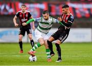 14 June 2019; Jack Byrne of Shamrock Rovers in action against Daniel Mandroiu of Bohemians during the SSE Airtricity League Premier Division match between Bohemians and Shamrock Rovers at Dalymount Park in Dublin. Photo by Seb Daly/Sportsfile