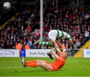 14 June 2019; James Talbot of Bohemians in action against Daniel Carr of Shamrock Rovers during the SSE Airtricity League Premier Division match between Bohemians and Shamrock Rovers at Dalymount Park in Dublin. Photo by Seb Daly/Sportsfile