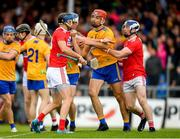 16 June 2019; Luke Meade of Cork during a coming together with Peter Duggan of Clare during the Munster GAA Hurling Senior Championship Round 5 match between Clare and Cork at Cusack Park in Ennis, Clare. Photo by Eóin Noonan/Sportsfile