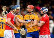 16 June 2019; Luke Meade of Cork during a coming together with Aidan McCarthy of Clare during the Munster GAA Hurling Senior Championship Round 5 match between Clare and Cork at Cusack Park in Ennis, Clare. Photo by Eóin Noonan/Sportsfile