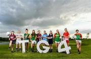 17 June 2019; U14's Milltown and Westmeath footballer Kelly Burke, Mary-Rose Kelly of Wexford, Máire O'Shaughnessy of Meath, U14's Trim and Meath footballer Sinéad Murphy, Fiona Claffey of Westmeath, Sinéad Goldrick of Dublin, U14's St Vincents and Dublin footballer Isabelle Dunne Nuala Mohan of Carlow, Kate Flood of Louth and U14's St Andrew's  and Carlow footballer Emer Lillis pictured at the Leinster LGFA Captain and Managers night ahead of the 2019 Leinster Ladies Senior, Intermediate and Junior Championship Finals, which will be played at Netwatch Cullen Park, Carlow, on June 30. Leinster LGFA will stream the Junior and Intermediate Finals, while the LGFA will stream the Senior Final. Managers and players from the participating counties were in attendance at Castleknock Golf Club in Castleknock, Co. Dublin. Photo by Harry Murphy/Sportsfile