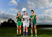 17 June 2019; Mary-Rose Kelly of Wexford, U14's Trim and Meath footballer Sinead Murphy and Máire O'Shaughnessy of Meath pictured at the Leinster LGFA Captain and Managers night ahead of the 2019 Leinster Ladies Senior, Intermediate and Junior Championship Finals, which will be played at Netwatch Cullen Park, Carlow, on June 30. Leinster LGFA will stream the Junior and Intermediate Finals, while the LGFA will stream the Senior Final. Managers and players from the participating counties were in attendance at Castleknock Golf Club in Castleknock, Co. Dublin. Photo by Harry Murphy/Sportsfile