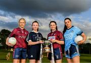 17 June 2019; Fiona Claffey of Westmeath, U14's St Vincents and Dublin footballer Isabelle Dunne, U14's Milltown and Westmeath footballer Kelly Burke and Sinéad Goldrick of Dublin pictured at the Leinster LGFA Captain and Managers night ahead of the 2019 Leinster Ladies Senior, Intermediate and Junior Championship Finals, which will be played at Netwatch Cullen Park, Carlow, on June 30. Leinster LGFA will stream the Junior and Intermediate Finals, while the LGFA will stream the Senior Final. Managers and players from the participating counties were in attendance at Castleknock Golf Club in Castleknock, Co. Dublin. Photo by Harry Murphy/Sportsfile