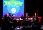 17 June 2019; Alan Caffrey, right, and Mark McCadden, second from right, speaking with Greatest League in the World podcast hosts Con Murphy and Conan Byrne during the Greatest League in the World Live Show at Sugar Club in Dublin. Photo by Eóin Noonan/Sportsfile