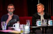 17 June 2019; Alan Caffrey, right, and Mark McCadden speaking with Greatest League in the World podcast hosts Con Murphy and Conan Byrne during the Greatest League in the World Live Show at Sugar Club in Dublin. Photo by Eóin Noonan/Sportsfile