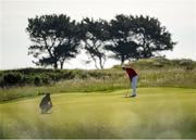 19 June 2019; Thomas Plumb of Yeovil Golf Club, England, putts on the green during day 3 of the R&A Amateur Championship at Portmarnock Golf Club in Dublin.