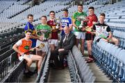 19 June 2019; Uachtarán Chumann Lúthchleas Gael John Horan with, from left, Dean Gaffney of Armagh, Edmond Kenny of Lancashire, Declan Molloy of Leitrim, Aonghus Clarke of Westmeath, Paddy Purcell of Laois, Sean Geraghty of Meath, Caolan Taggart of Down, and James Weir of Sligo during a Joe McDonagh Cup, Christy Ring, Nicky Rackard & Lory Meagher Cup Final media event at Croke Park in Dublin. Photo by Matt Browne/Sportsfile