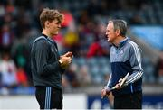 15 June 2019; Dublin manager Mattie Kenny, right, in conversation with Ronan Hayes of Dublin ahead of the Leinster GAA Hurling Senior Championship Round 5 match between Dublin and Galway at Parnell Park in Dublin. Photo by Ramsey Cardy/Sportsfile