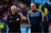 15 June 2019; Referee Johnny Ryan, left, and Dublin manager Mattie Kenny ahead of the Leinster GAA Hurling Senior Championship Round 5 match between Dublin and Galway at Parnell Park in Dublin. Photo by Ramsey Cardy/Sportsfile