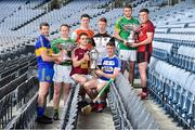 19 June 2019; Joe McDonagh Cup finalists, centre, Aonghus Clarke of Westmeath and Paddy Purcell of Laois, with, from left, Lory Meagher Cup finalists Edmond Kenny of Lancashire, Declan Molloy of Leitrim, Nicky Rackard Cup finalists Dean Gaffney of Armagh, James Weir of Sligo, and Christy Ring Cup finalists Sean Geraghty of Meath, Caolan Taggart of Down, during a Joe McDonagh Cup, Christy Ring, Nicky Rackard & Lory Meagher Cup Final media event at Croke Park in Dublin. Photo by Matt Browne/Sportsfile