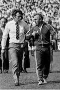 3 July 1983; Meath manager Sean Boylan with Croke Park supervisory steward Brian Killeen, left, as he walks off the pitch. Leinster Senior Football Championship quarter-final replay, Meath v Dublin in Croke Park in Dublin. Photo by Ray McManus/Sportsfile.