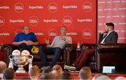21 June 2019; SuperValu, Ireland's largest grocery retailer with over 220 stores nationwide, teamed up with Ireland's leading sports broadcasters, Off The Ball, to bring their award-winning show on the road this summer, to celebrate SuperValu's 10th year as sponsor of the GAA Football All-Ireland Senior Championship. Joined by a host of special guests, the first stop on the SuperValu Off The Ball roadshow was St Finbarr's National Hurling and Football Club in Togher, Co. Cork, which took place on Thursday 20th June. Pictured are former Kerry footballer and Off The Ball presenter Kieran Donaghy, centre, with former Cork footballer Niall Cahalane, left, and Off The Ball presenter Nathan Murphy. Photo by Matt Browne/Sportsfile ** NO REPRODUCTION FEE ** Photo by Matt Browne/Sportsfile