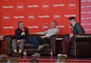 21 June 2019; SuperValu, Ireland's largest grocery retailer with over 220 stores nationwide, teamed up with Ireland's leading sports broadcasters, Off The Ball, to bring their award-winning show on the road this summer, to celebrate SuperValu's 10th year as sponsor of the GAA Football All-Ireland Senior Championship. Joined by a host of special guests, the first stop on the SuperValu Off The Ball roadshow was St Finbarr's National Hurling and Football Club in Togher, Co. Cork, which took place on Thursday 20th June. Pictured are former Cork player and manager Gerald McCarthy, left, with Off The Ball presenter and former Kerry footballer Kieran Donaghy, centre, and Off The Ball presenter Nathan Murphy. Photo by Matt Browne/Sportsfile ** NO REPRODUCTION FEE ** Photo by Matt Browne/Sportsfile