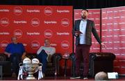 21 June 2019; SuperValu, Ireland's largest grocery retailer with over 220 stores nationwide, teamed up with Ireland's leading sports broadcasters, Off The Ball, to bring their award-winning show on the road this summer, to celebrate SuperValu's 10th year as sponsor of the GAA Football All-Ireland Senior Championship. Joined by a host of special guests, the first stop on the SuperValu Off The Ball roadshow was St Finbarr's National Hurling and Football Club in Togher, Co. Cork, which took place on Thursday 20th June. Pictured are Off The Ball presenter Nathan Murphy with former cork footballer Niall Cahalane, left, and former Kerry footballer and Off The Ball presenter Kieran Donaghy. Photo by Matt Browne/Sportsfile ** NO REPRODUCTION FEE ** Photo by Matt Browne/Sportsfile