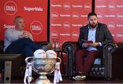 21 June 2019; SuperValu, Ireland's largest grocery retailer with over 220 stores nationwide, teamed up with Ireland's leading sports broadcasters, Off The Ball, to bring their award-winning show on the road this summer, to celebrate SuperValu's 10th year as sponsor of the GAA Football All-Ireland Senior Championship. Joined by a host of special guests, the first stop on the SuperValu Off The Ball roadshow was St Finbarr's National Hurling and Football Club in Togher, Co. Cork, which took place on Thursday 20th June. Pictured are Off The Ball presenters Nathan Murphy, right, and former Kerry footballer and Off The Ball presenter Kieran Donaghy. Photo by Matt Browne/Sportsfile ** NO REPRODUCTION FEE ** Photo by Matt Browne/Sportsfile