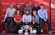 21 June 2019; SuperValu, Ireland's largest grocery retailer with over 220 stores nationwide, teamed up with Ireland's leading sports broadcasters, Off The Ball, to bring their award-winning show on the road this summer, to celebrate SuperValu's 10th year as sponsor of the GAA Football All-Ireland Senior Championship. Joined by a host of special guests, the first stop on the SuperValu Off The Ball roadshow was St Finbarr's National Hurling and Football Club in Togher, Co. Cork, which took place on Thursday 20th June. Pictured are former Kerry footballer and Off The Ball presenter Kieran Donaghy with, from left, front row, Cork ladies football captain Doireann O'Sullivan, Off The Ball presenter Nathan Murphy and Ann-Marie Fenton, SuperValu communications manager, back row, from left, former Cork players Tomas Mulcahy, Donncha O'Connor, Gerald McCarthy and Daniel Goulding. Photo by Matt Browne/Sportsfile ** NO REPRODUCTION FEE ** Photo by Matt Browne/Sportsfile