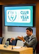 22 June 2019; Noel Mooney, FAI General Manager for Football Services and Partnerships speaking to club delegates during the FAI Club of the Year Information Day at FAI National Training Centre in Abbotstown, Dublin. Photo by Eóin Noonan/Sportsfile