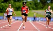 22 June 2019; Yemi Talabi of Moyne CS, Co. Longford, centre, on her way to winning the Girls 100m event during the Irish Life Health Tailteann Inter-provincial Games at Santry in Dublin. Photo by Sam Barnes/Sportsfile