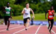 22 June 2019; Oliver Swinney of Dominican Portstewart, Co. Derry, on his way to winning the Boys 100m event during the Irish Life Health Tailteann Inter-provincial Games at Santry in Dublin. Photo by Sam Barnes/Sportsfile