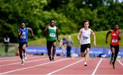 22 June 2019; Athletes, from left, Glory Wenegieme of Colaiste Muire Crosshaven, Co. Cork, Charles Okafor of St Finian's Mullingar, Co. Westmeath, Oliver Swinney of Dominican Portstewart, Co. Derry, and Toyosi Fagbo of Carrick CS, Co. Leitrim, competing in the Boys 100m event during the Irish Life Health Tailteann Inter-provincial Games at Santry in Dublin. Photo by Sam Barnes/Sportsfile